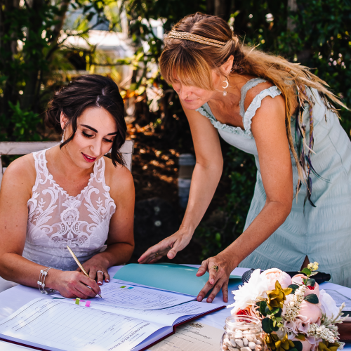 Signing with the Bride